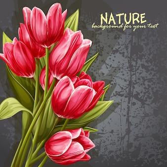 Arrière-plan de votre texte avec l'image de tulipes roses
