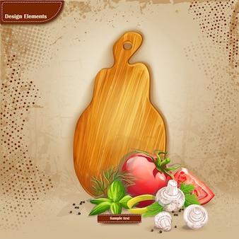 Arrière-plan de votre texte avec une planche à découper et des légumes