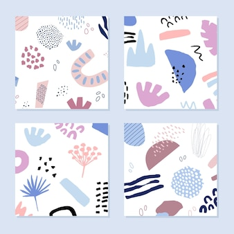Arrière-plans abstraits dans un style branché avec des éléments botaniques et géométriques, des textures