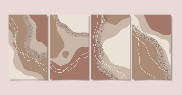 Arrière-plans abstraits avec des formes minimales et des dessins au trait
