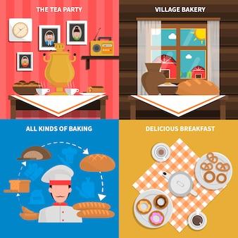 Arrière-plans de concept de boulangerie