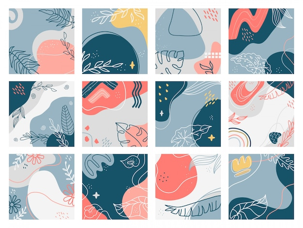 Arrière-plans dessinés à la main. doodle affiches florales abstraites à la mode, bannières de médias sociaux, ensemble d'illustration esthétique contemporaine créative. motif floral à main levée, invitation de fleur de papier peint