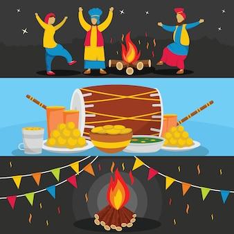 Arrière-plans du festival happy lohri