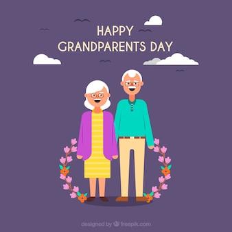 Arrière-plans des grands-parents avec des fleurs