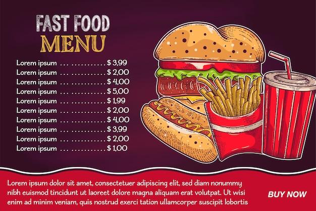 Arrière-plans avec un hamburger, des frites et du soda dessinés à la main