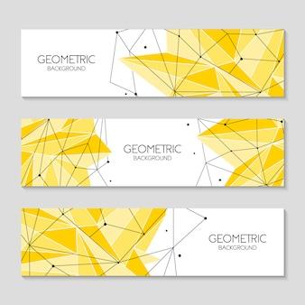 Arrière-plans horizontaux formes abstraites jaunes polygonales