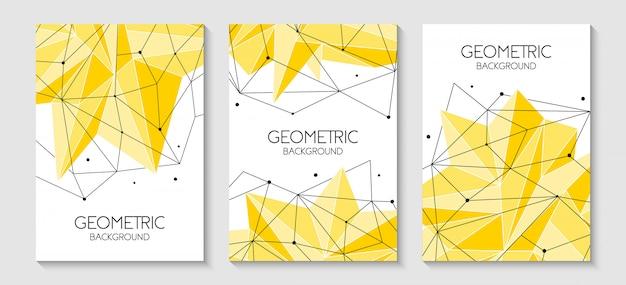 Arrière-plans jaunes futuristes abstraits polygonales