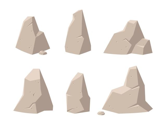 Arrière-plans de jeu. ensemble de roches et de pierres pour les jeux.
