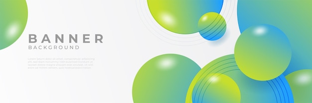 Arrière-plans de modèle de conception de bannière web horizontale vert moderne abstrait