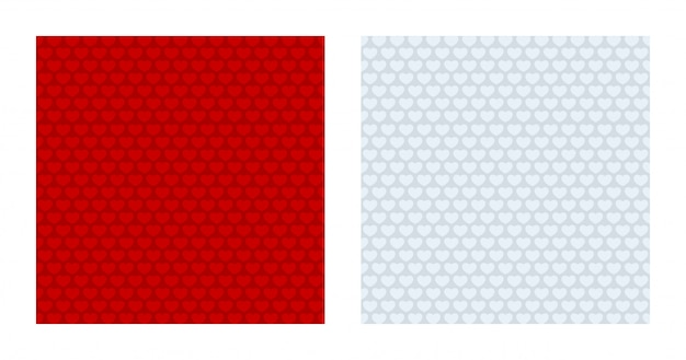 Arrière-plans à motifs de coeur rouge et blanc