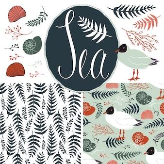 Arrière-plans avec des mouettes et des fougères. ensemble de la mer