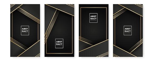 Arrière-plans noirs abstraits modernes sertis de lignes dorées