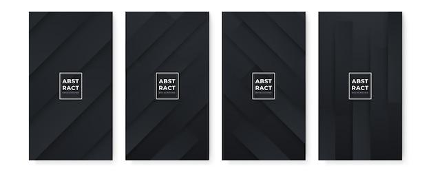 Arrière-plans noirs abstraits modernes sertis de lignes