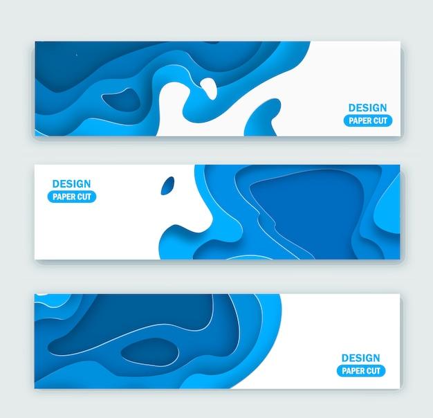 Arrière-plans panoramiques avec du papier bleu abstrait 3d coupé des formes