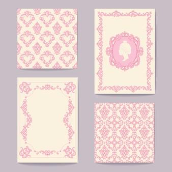 Arrière-plans royaux baroques abstraits en rose et blanc