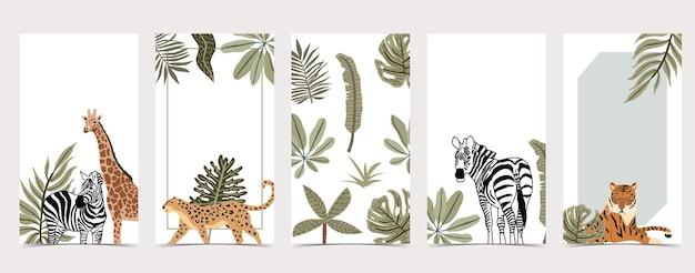 Arrière-plans safari pour la collection de médias sociaux avec des animaux et des plantes sauvages