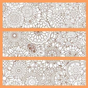 Arrière-plans verticaux sertis de style doodle
