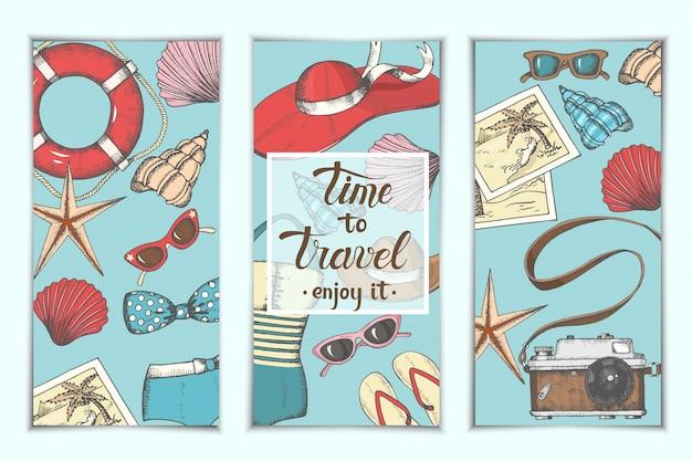 Arrière-plans vintage d'été avec objets et symboles dessinés à la main