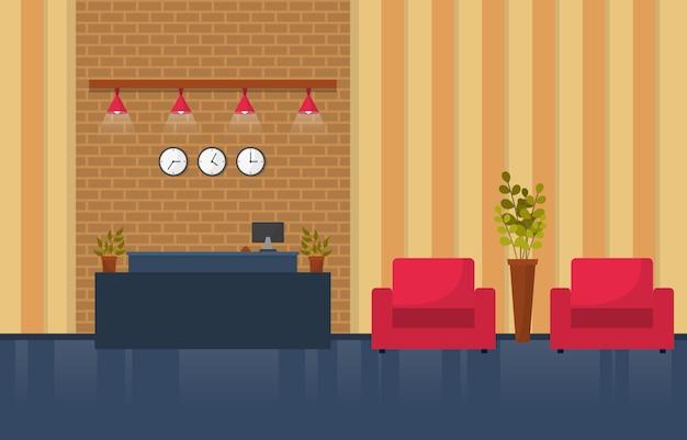 Arrivée à l'hôtel réception meubles de la salle du hall illustration intérieure