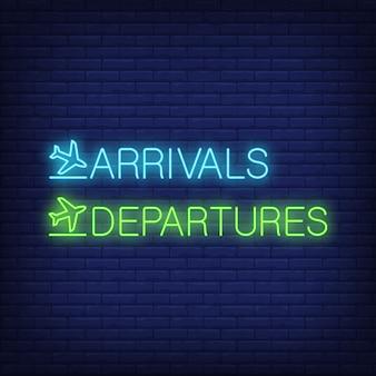 Arrivées et départs enseigne au néon
