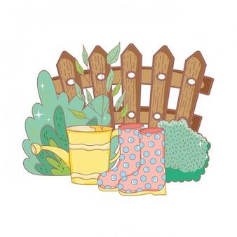 Arroseur de douche jardinier avec des bottes