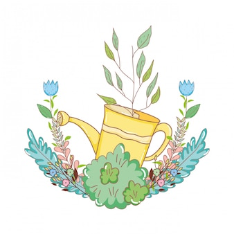 Arroseur de douche jardinier avec feuilles et fleurs