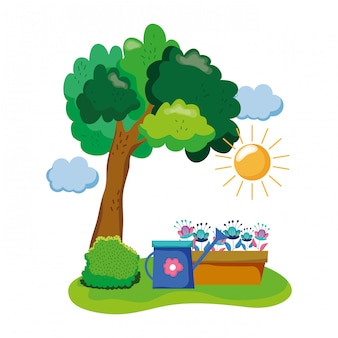 Arroseur de jardin avec plante d'intérieur dans le champ