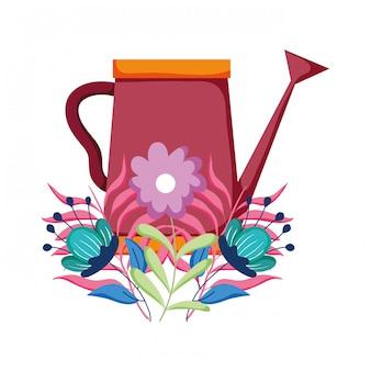 Arroseur mignon de jardin avec décoration florale