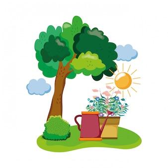 Arroseur mignon de jardin avec plante d'intérieur dans le champ