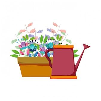 Arroseur mignon de jardin avec plante d'intérieur