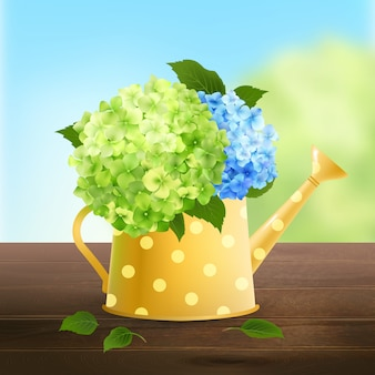 Arrosoir avec hortensia