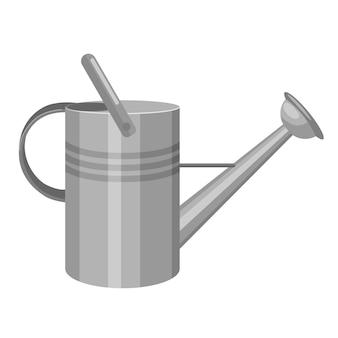 Arrosoir en métal isolé dans un style plat. outil d'équipement de jardin d'argent sur fond blanc. illustration vectorielle