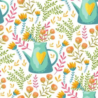 Arrosoir et motif de fleurs