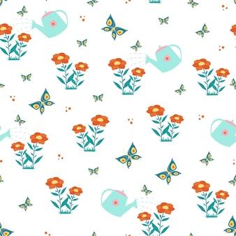 Arrosoir motif sans couture de fleurs et de papillons. impression vectorielle dans un style plat.