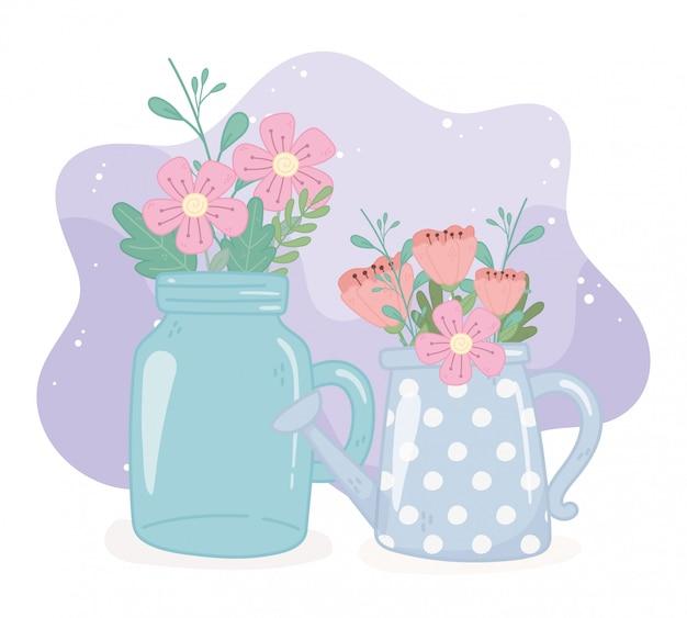 Arrosoir pot mason avec ornement de décoration feuillage fleurs