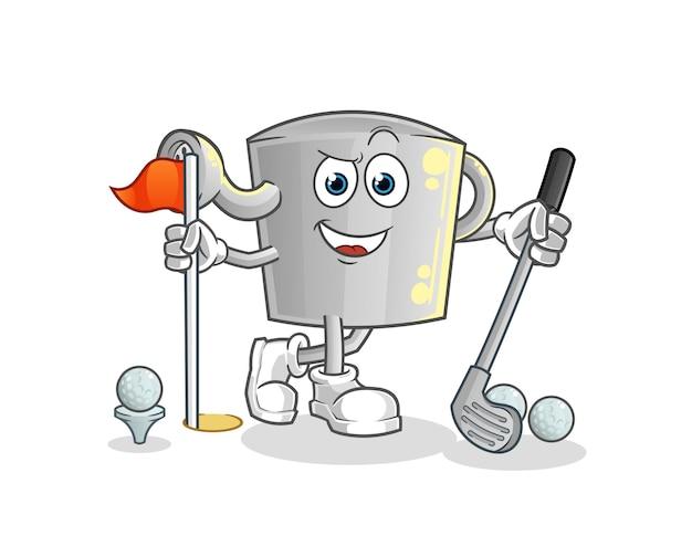 L'arrosoir pour jouer au golf. personnage de dessin animé