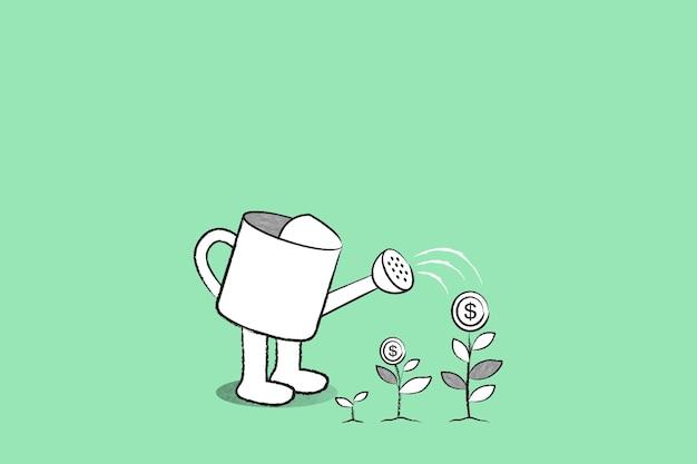Arrosoir vert vecteur de fond avec illustration de croissance d'entreprise doodle