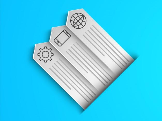 Arrow étiquettes infographiques avec des symboles web pour les entreprises.