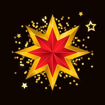 Art 3d étoile rouge doré