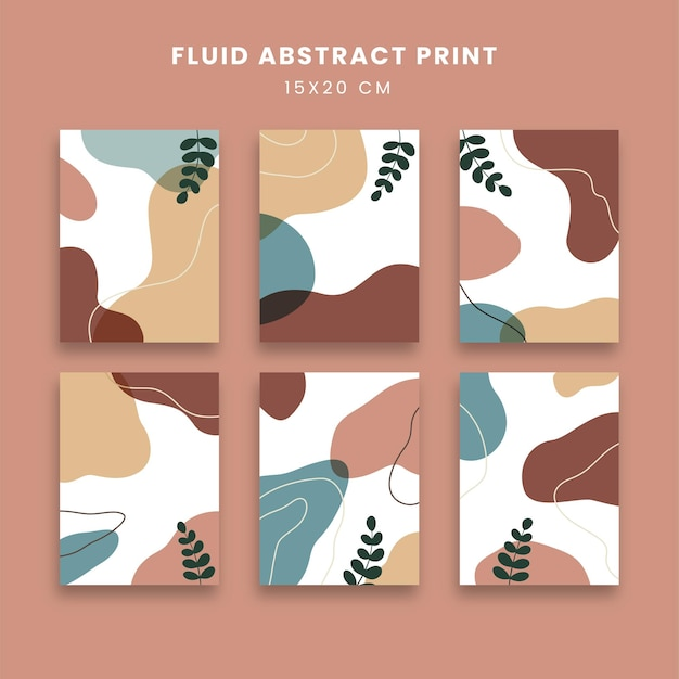 Art abstrait affiches sertie de fluide et de feuilles