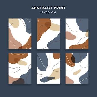 Art abstrait affiches sertie d'impression moderne contemporaine ligne fluide