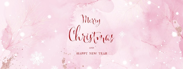 Art abstrait aquarelle de noël et d'hiver sur fond rose. branches de pin sur la neige tombant à l'aquarelle peinte à la main. convient pour la conception d'en-tête, la bannière, la couverture, le web, les cartes ou la décoration murale.