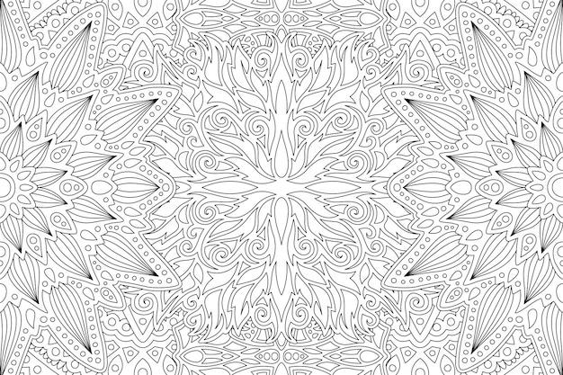 Art abstrait linéaire monochrome pour cahier de coloriage