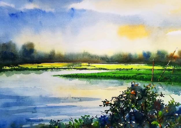 Art d'aquarelle de champ de campagne de saison des pluies