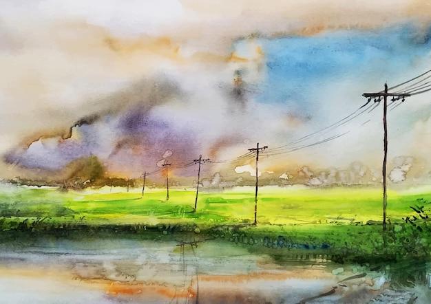 Art d'aquarelle de champ de village