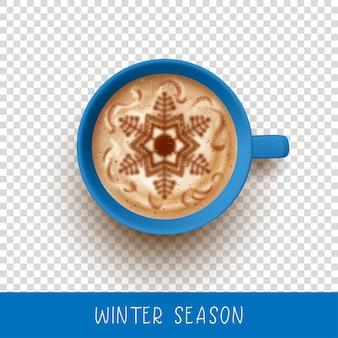 Art de café au lait de noël. vue de dessus sur une tasse de café