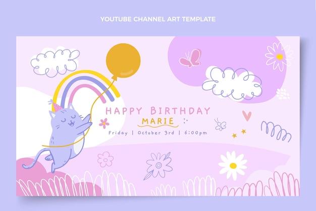 Art De La Chaîne Youtube Anniversaire Enfantin Dessiné à La Main Vecteur gratuit