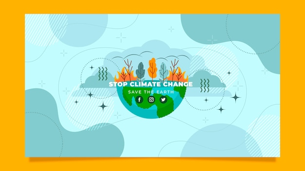 Art de la chaîne youtube sur le changement climatique au design plat dessiné à la main