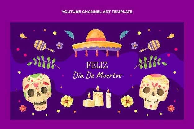 Art de la chaîne youtube dia de muertos aquarelle