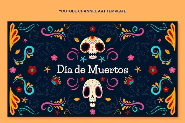 Art de la chaîne youtube dia de muertos plat dessiné à la main